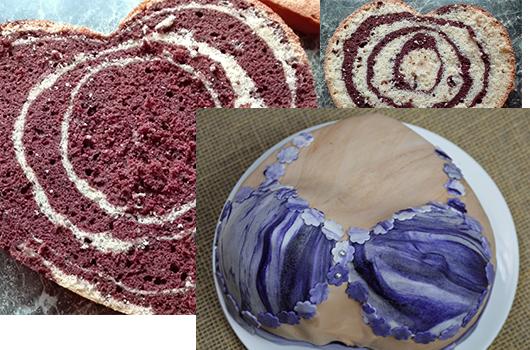 Mramorovaný dortový korpus
